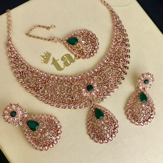 Asma Rose gold and green necklace earrings tikka set indian bride engagement prom party jewellery