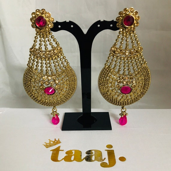 Aruna Antique gold pink strand jhumar earrings Indian bridal Pakistani party jewellery