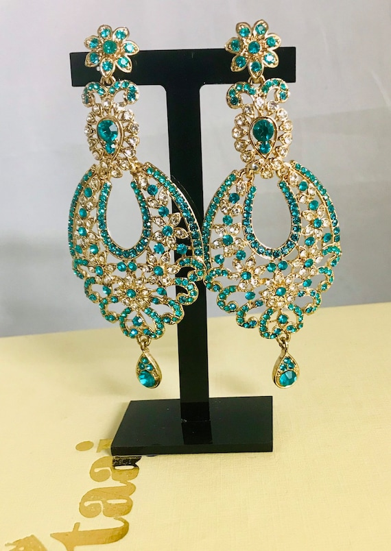Elam Gold teal diamante large earrings bling party jewellery