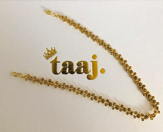 Gaia Gold diamanté hair chain headpiece matha patti hijab wear indian jewellery