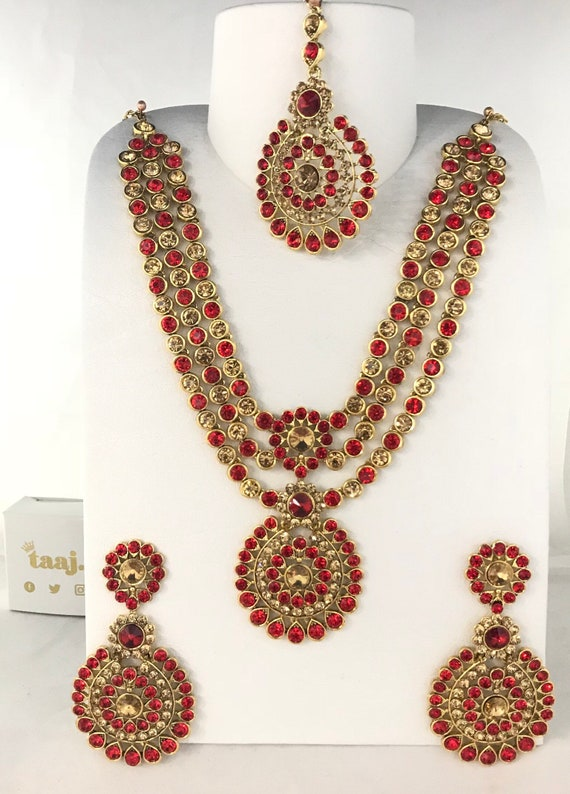 Olivia Gold & red diamanté long necklace earrings and tikka set, indian partywear bridal jewellery