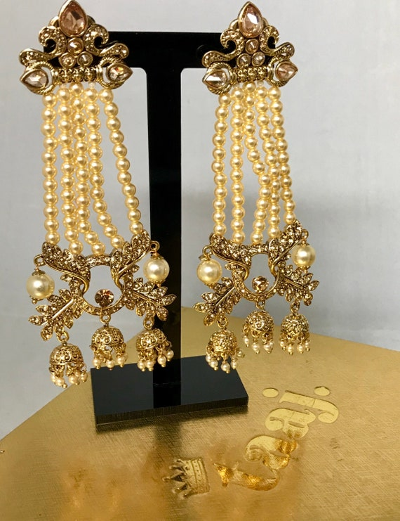 Radha Gold zirconia pearl bead triple jhumka earrings, Indian bridal Pakistani jewellery