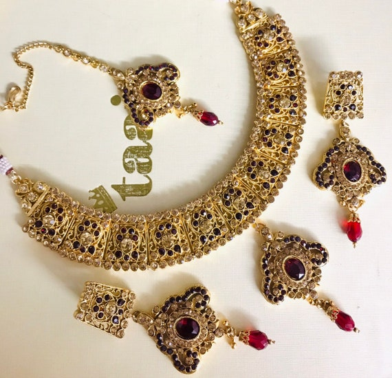 Needan Gold maroon necklace earrings tikka set indian bridal Pakistan jewellery hijab wear