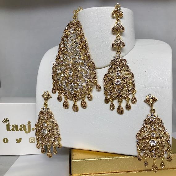 Emma Gold diamanté jhumar earrings and tikka set.