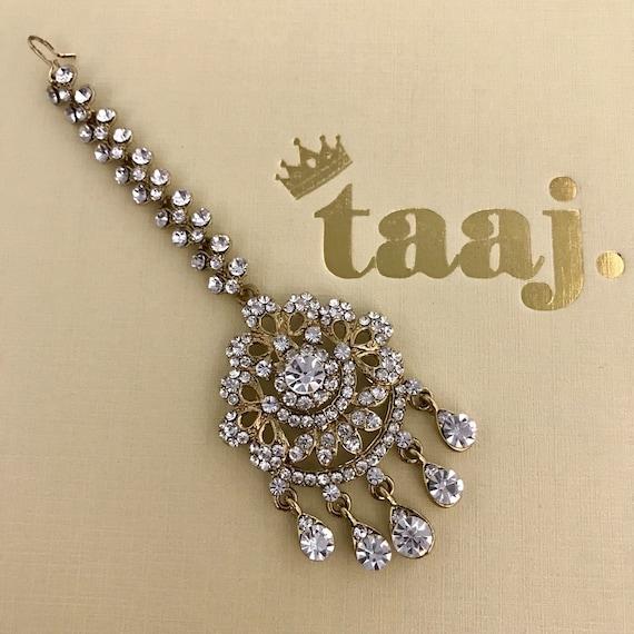 Bella Gold pearl and diamanté tikka headpiece hijab jewellery
