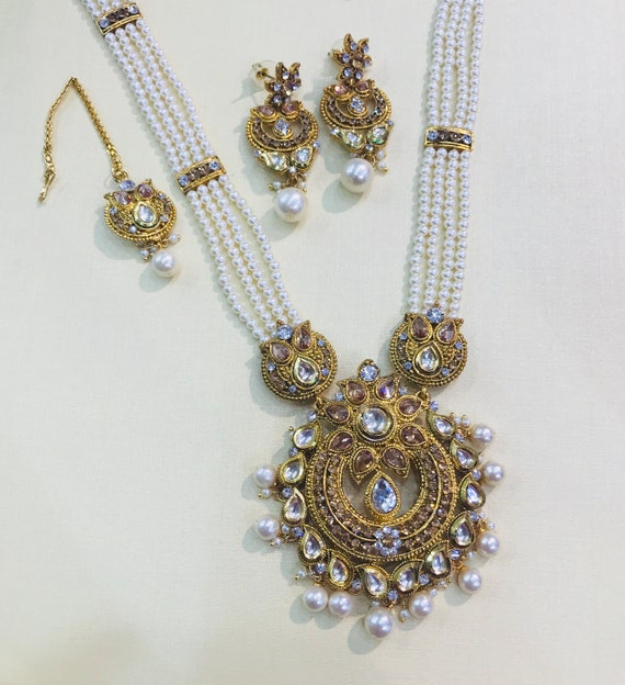 Indian Bridal Wedding Pearl Rani Haar Choker Necklace Sets: Gold & Pearl Long Rani Haar Mala Necklace Earrings And