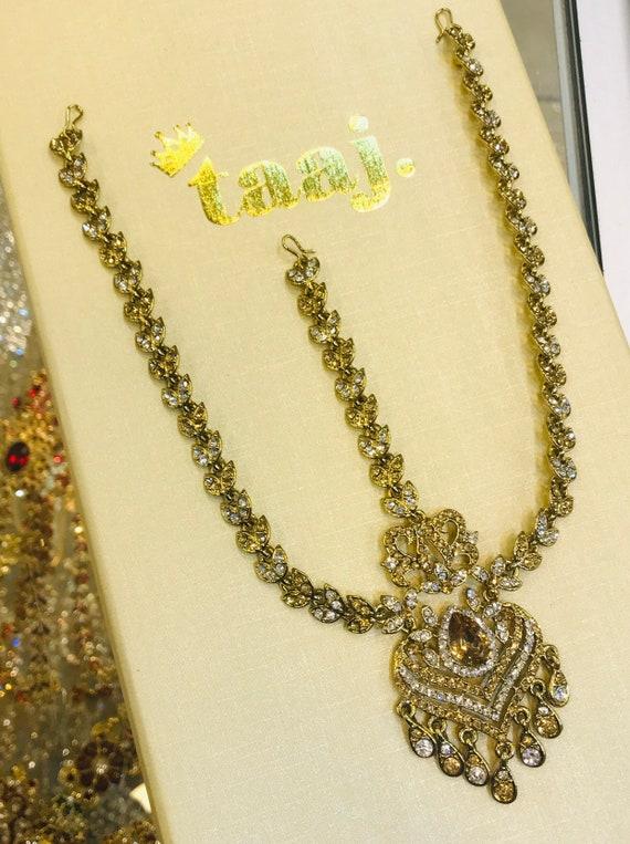 Nasheli Gold diamanté matha patti headpiece hair accessory hijab chain tikka boho grecian