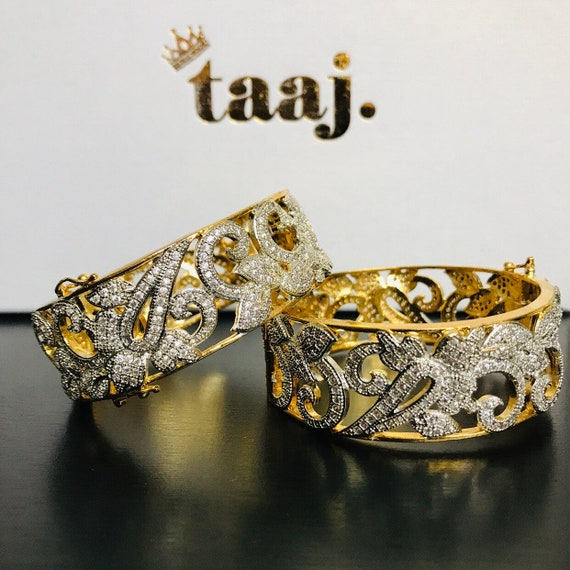 Sareh Gold American diamond CZ pair bangle kara kangan churi free size clasp cuff