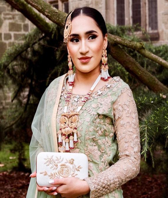 Ella Gold zirconia ruby pearl strand mala rani haar Necklace jhuma earrings Indian bridal Pakistani jewellery