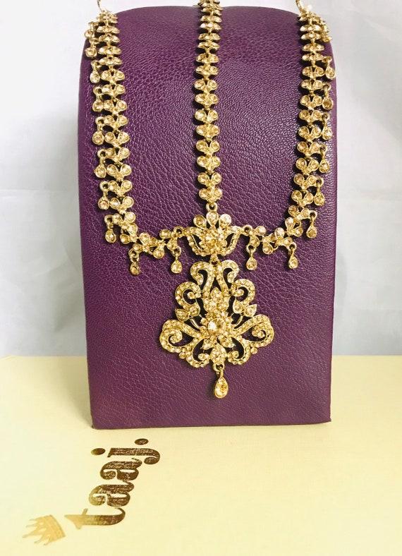 Sacha Gold diamanté headpiece matha patti hair jewellery hijab accessory boho indian bridal