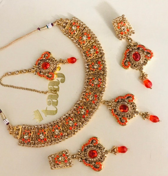 Needan Gold orange diamanté necklace earrings tikka set indian bridal pakistani jewellery