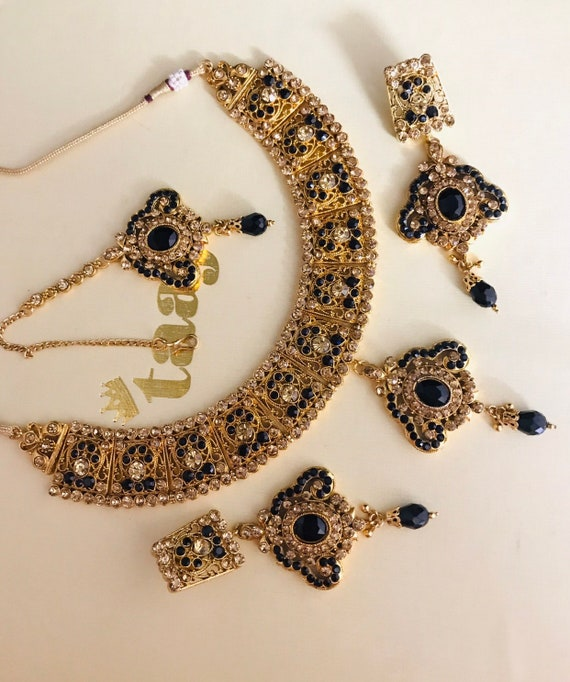 Needan Gold black diamanté necklace earrings tikka set indian bridal pakistani jewelry