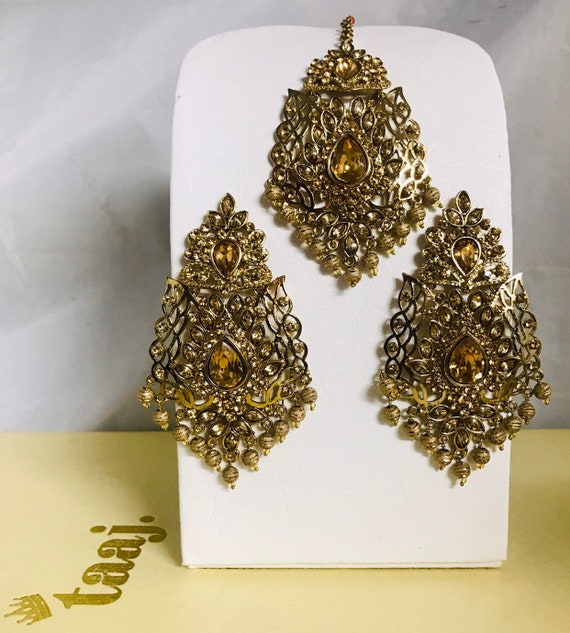 Ashni Gold polki bead earrings tikka set Indian bridal Pakistani party jewellery