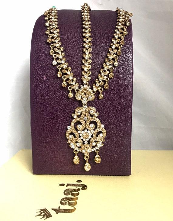 Surya Gold diamanté headpiece matha patti hair accessory hijab chain tikka boho grecian
