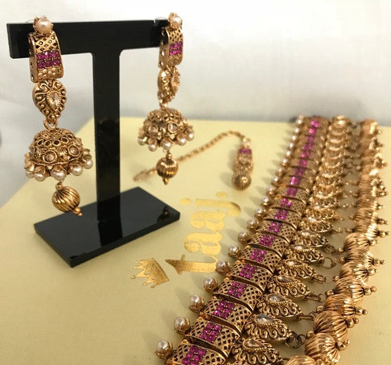 Zaha Gold & pearl pink choker necklace jhumka earrings tikka indian Pakistani bridal jewellery