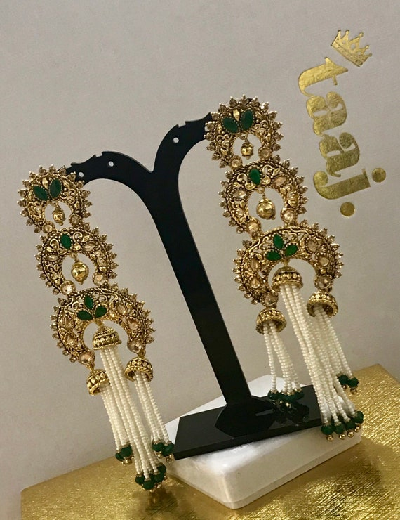 Hasina Gold & green pearl strand jhumka earrings indian Pakistani jewellery