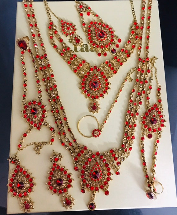 Alia Gold red diamanté 9 piece indian bridal Pakistani jewelry