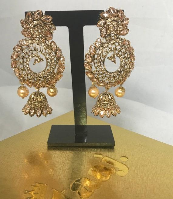 Chera Gold zirconia jhumka earring
