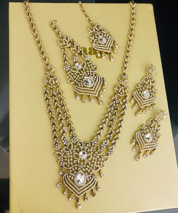 Paloma Gold diamanté long Necklace jhumar tikka earrings indian bridal Pakistani jewellery