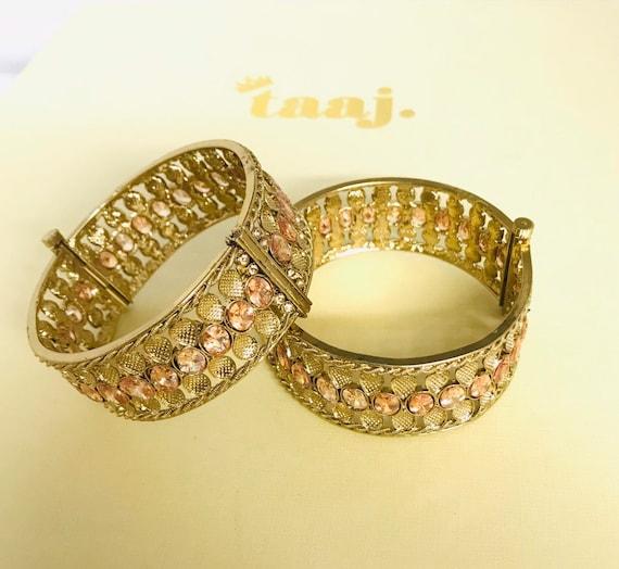 Samina Gold kundan polki pair bangles kara churi kangan bracelet free size screw