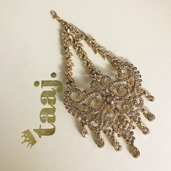 Anthea Gold diamanté jhumar passa headpiece tikka hijab hair accessory indian bridal jewelry
