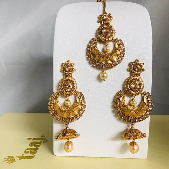 Neha Gold pearl Kundan polki jhumka earrings tikka set Indian bridal pakistani jewellery