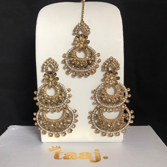 Daniya Antique gold diamanté necklace earrings set indian bridal prom party hijab pakistani jewellery