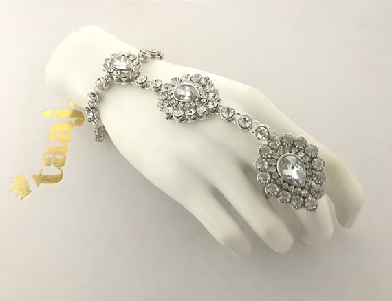 Mia Silver diamanté handset panja bracelet ring chain handpiece indian bridal kundan