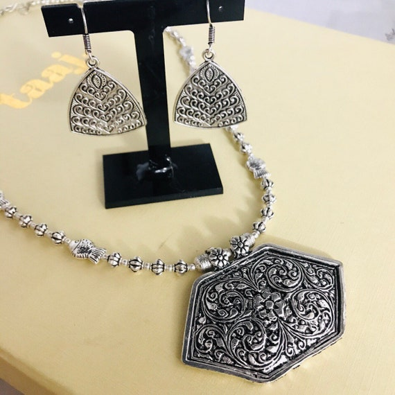 Jaane Silver oxidised ethnic tribal boho pendant necklace earrings afghani Indian jewellery
