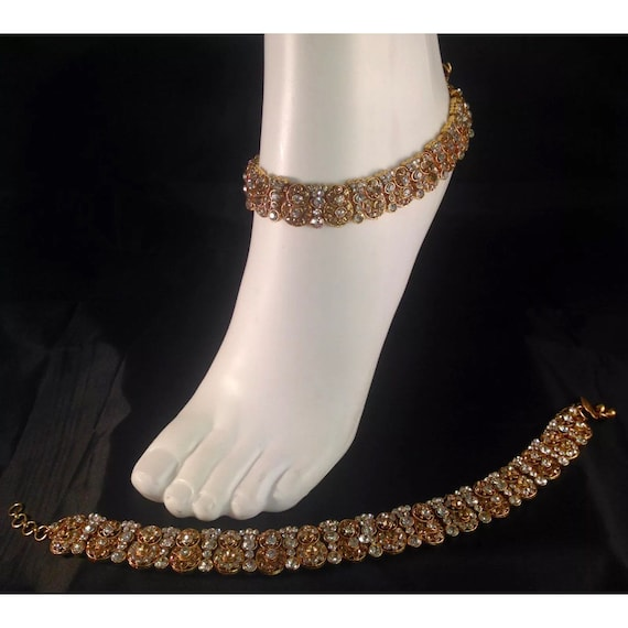 Miya Golden diamanté pair of anklet payal foot chain chanjar