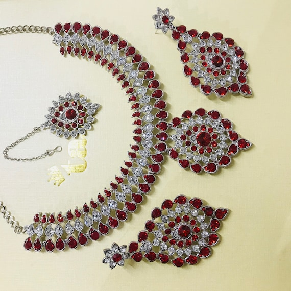 Alice Silver and red diamanté Necklace earrings and tikka set