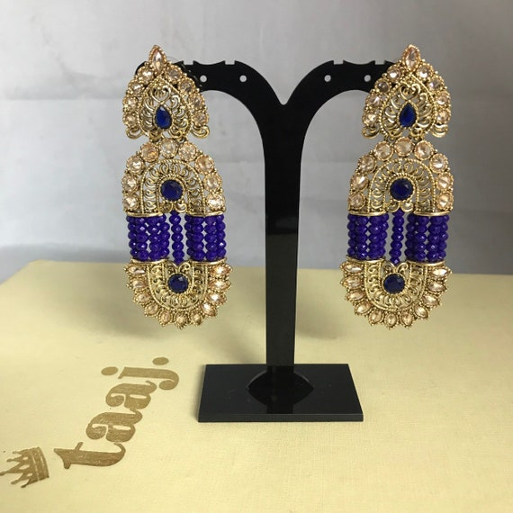 Shila Gold blue bead strand earrings art nouveau style indian wedding jewellery