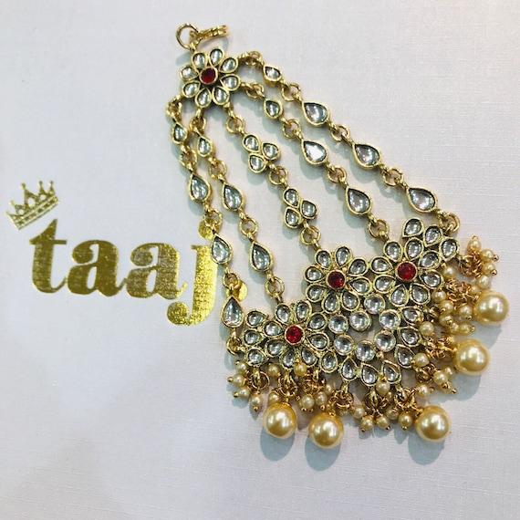 Adiva Red gold kundan pearl jhumar passa tikka side headpiece Indian hair jewellery