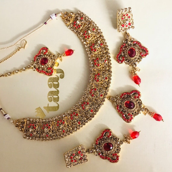 Needan Gold red diamante necklace earrings tikka set indian bride Pakistani jewellery
