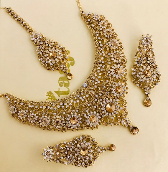 Tanya Gold diamante Necklace Earring and Tikka set wedding bridal party jewellery