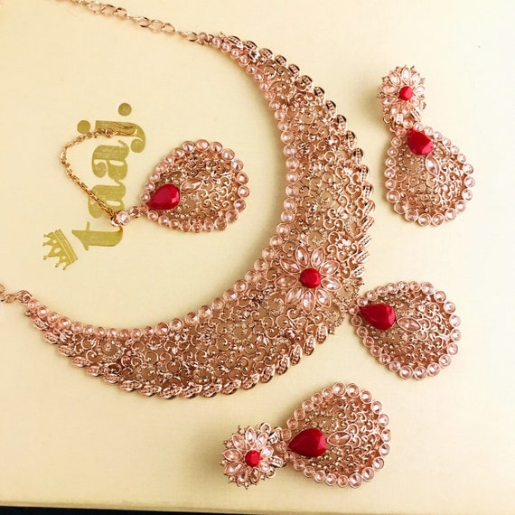 Asma Rose gold red zirconia necklace earrings and tikka set indian bride party prom jewellery