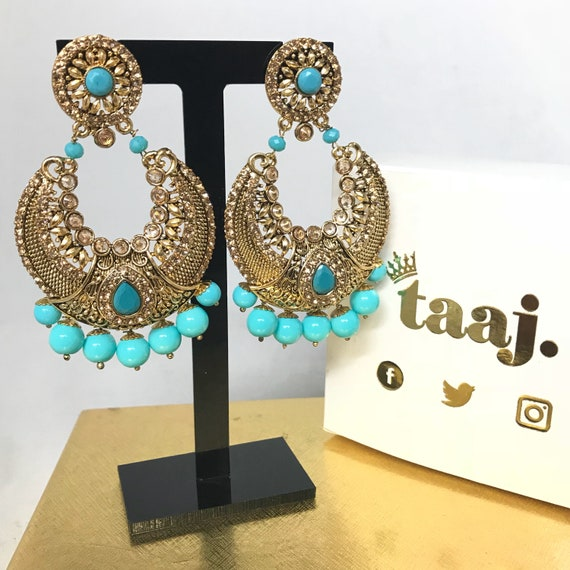 Gauri Gold zirconia & firoza blue pearl chaand bali style earrings