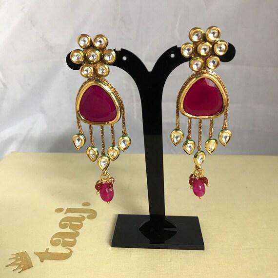 Mehna Gold ruby kundan statement earrings Indian bridal Pakistani jewellery