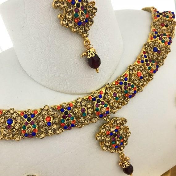Aloka Gold & Multi colour diamanté necklace earrings and tikka set