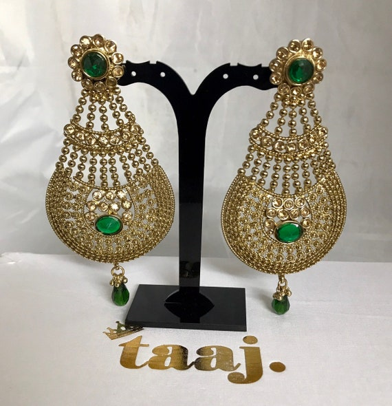 Aruna Antique gold green jhumar style earrings Indian bridal party Pakistani jewellery