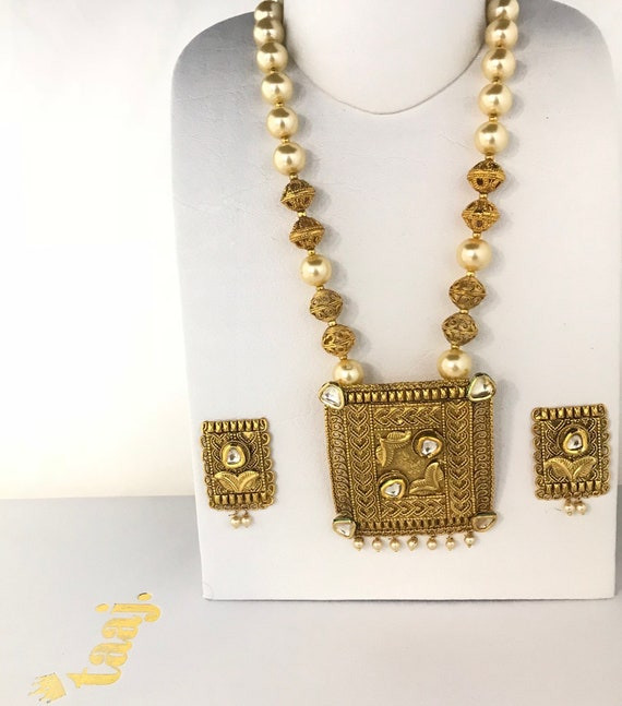 Amatus Gold kundan pearl mala necklace and tops earrings, indian traditionally partywear bridal