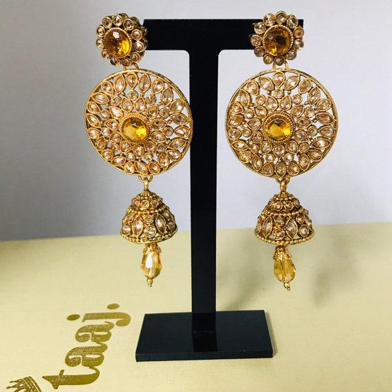 Koya Gold polki zirconia jhumka earrings Indian bridal Pakistani party jewellery