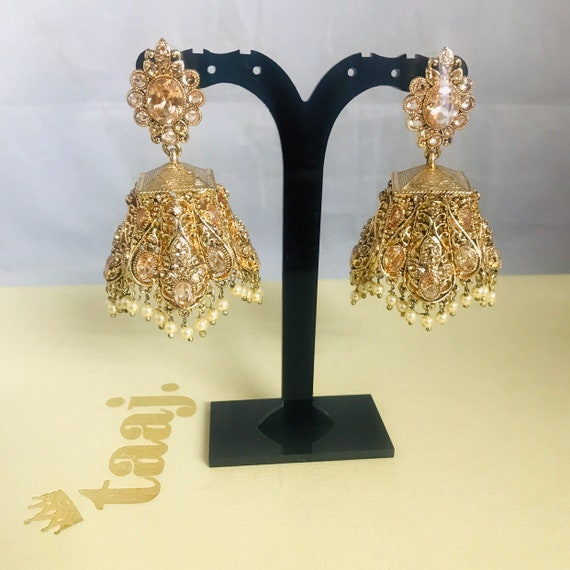 Risha Gold zirconia pearl jhumka earrings Indian wedding mehndi Pakistani bridal jewellery