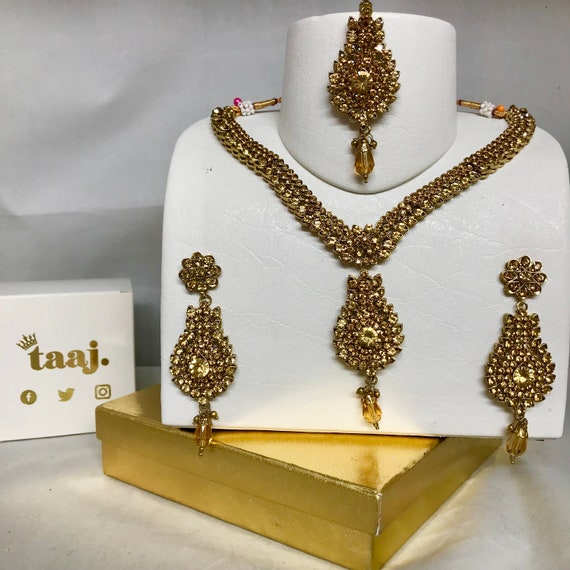 Aniya Antique gold diamanté necklace earrings and tikka set indian bridal Pakistani jewellery
