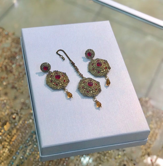Raksum Gold and red earrings and tikka set , indian bridal Pakistani jewellery