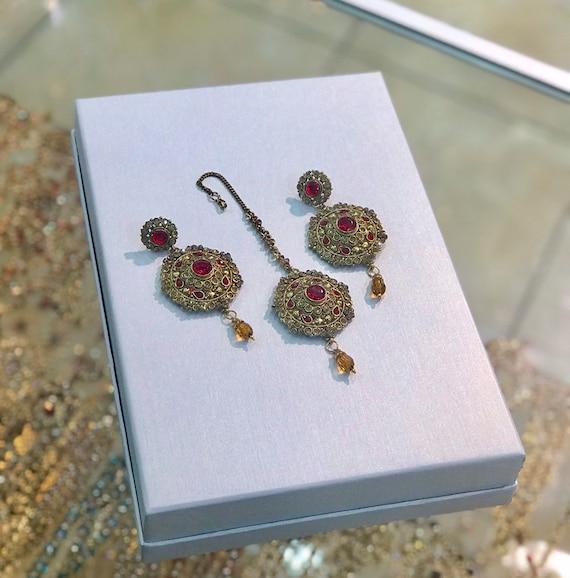 Raksum Gold and red earrings and tikka set , indian bridal Pakistani jewellery