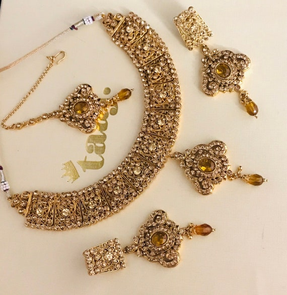 Needan Gold diamanté necklace earrings tikka set indian bridal pakistani jewellery