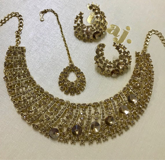 Ashley Gold diamanté Necklace Earring and tikka set, indian bride, prom party wear