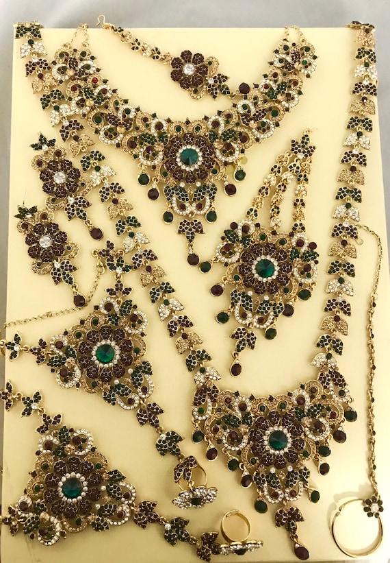 Krish Gold green red diamanté bridal set