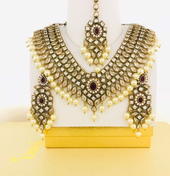Basanti Gold zirconia maroon polki Kundan pearl necklace earrings tikka
